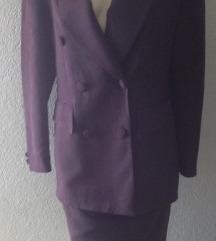 Ljubičasti komplet odijelo suknja sako M/L AKCIJA