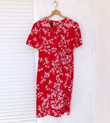 Vintage midi crvena cvjetna haljina
