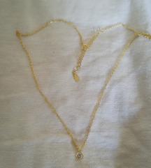 Pozlaćena srebrna ogrlica S925 s privjeskom