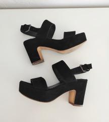 Crne sandale, koža