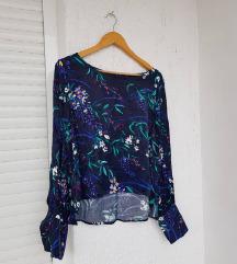 MANGO cvjetna modra satinirana bluza