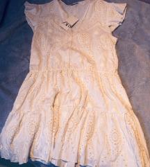 Zara bijela bež izvezena mini haljina L