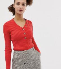 New Look, Crvena rebrasta majica s gumbima