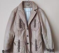 Bež retro kožna jakna, poštarina u cijeni