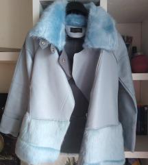Plava kožna jakna s krznom nova