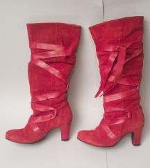 Crvene čizme na petu, antilop, okrugli prsti