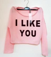 Suare ženska roza majica s natpisom (nenošeno)