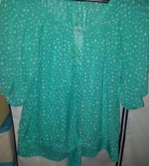 Tirkizna bluza na točkice