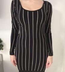 Casual crna uska haljina na prugice