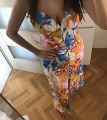 Zara midi cvijetna lanena haljina