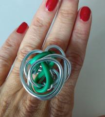 Prsten - zeleno i žica