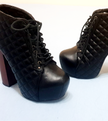Malien ženske crne kožne čizme/platformke