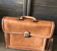 Kozna smedja laptop torba (rucni rad)