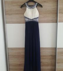 Duga plavo-bijela haljina