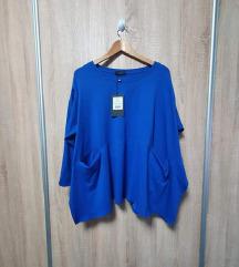 Plava pamučna tunika s džepovima L-XL