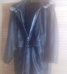 kožna crna nova jakna sa pravim krznom  vel 46-48