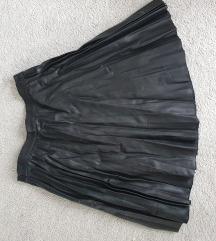 Suknja kožna plisirana