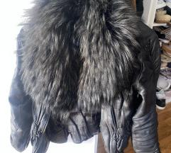 Kožna jakna s pravim krznom