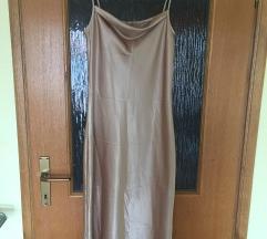 Zlatna slip midi haljina