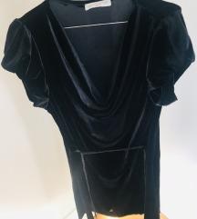 Barsunasta crna haljina S