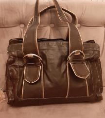 Vicosta velika, smedja, kožna torba