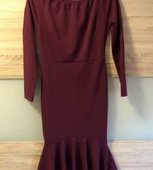 Bordo midi haljina
