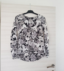 Košulja / cvjetni uzorak / crno-bijela