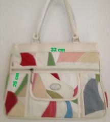 Kožna torba - šareno-bijela