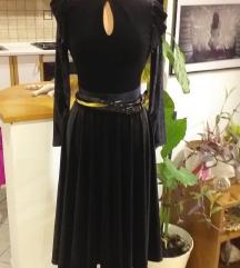 UNIKAT crna baršunasta haljina