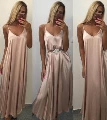 Puder roza saten haljina