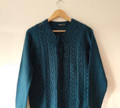 NOVI plavi pleteni pulover