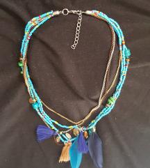 Tirkizna boho ogrlica