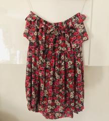 Cvijetna haljina sa volanima bez naramenica
