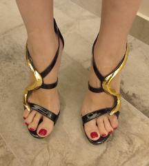 Crne lak sandale