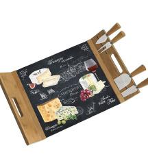 Pladanj za serviranje i rezanje sira od bambusa