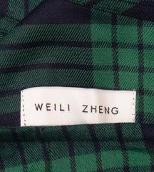 WEILI ZHENG zeleno crna karirana haljina