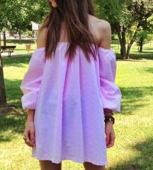 Roza haljina off shoulder