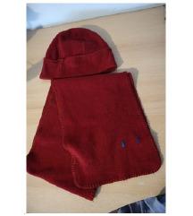 Lot plišana zimska crvena kapa i šal