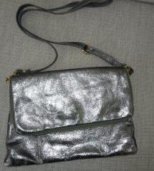 Kožna srebrna torbica