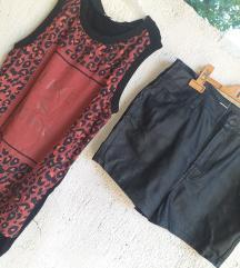 Lot kožne nove hlačice + majca 38