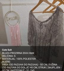 BLUZA PROZIRNA SIVA H&M