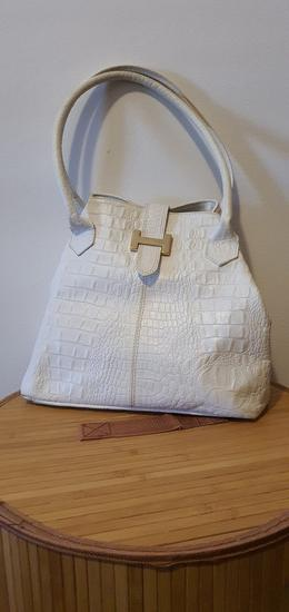 Kožna bijela torba Vera Pelle
