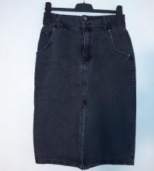 Nova Pull&bear midi crno siva traper suknja L