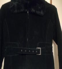 Nova crna kožna jakna sa krznom