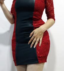 Crvena haljina s koznim i cipkastim detaljima