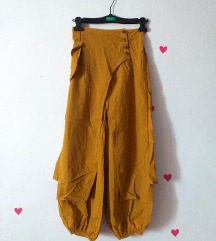 NOVE široke žute oker ženske hlače