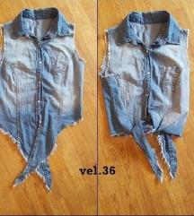 Crop jeans košuljica