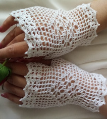 Damske heklane čipkaste rukavice