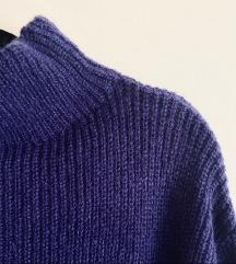 H&M plavi oversized pulover haljina -MOHER vuna