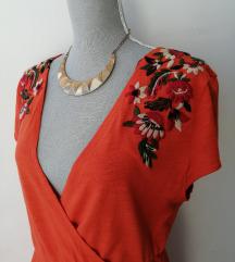 ZARA narančasta haljina s pletenim cvjetovima :)